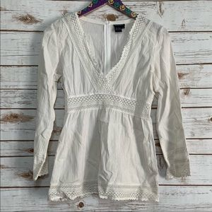 Boston Proper white lace embroidered tunic Top